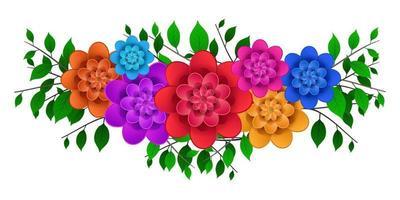 Flowers bouquet border cartoon vector