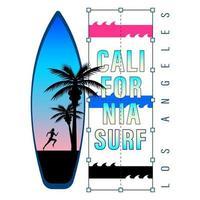 camisa con estampado de surf california vector