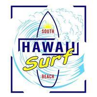 camisa con estampado del logo de surf hawaii vector