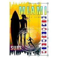 Miami Surf Girl Print Shirt vector