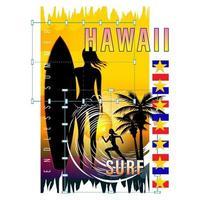 Hawaii Surf Girl Silhouette Print Shirt vector