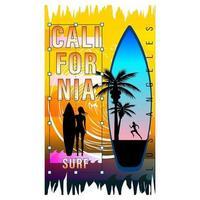 California Surf Woman Silhouette Print Shirt vector