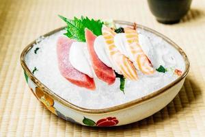 Raw and fresh sashimi set with salmon and tuna fish meat photo