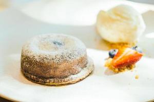 Chocolate brownies lava cake with ice cream photo