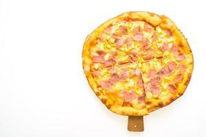 Hawaiian pizza on wooden tray photo