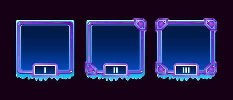 Set of winter ice jelly game ui border avatar frame with grade for gui asset elements vector