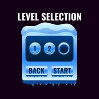 Winter ice game ui level selection interface. vector