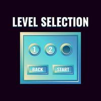 Fantasy glossy game ui level selection interface. vector