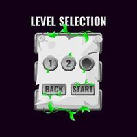 Stone jungle leaves game ui level selection interface. vector