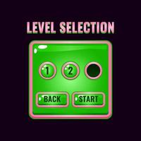 Pink jelly game ui level selection interface. vector