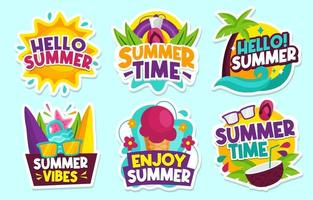 Colorful Summer Sticker Collection vector
