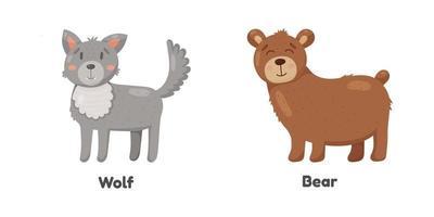 lindo lobo y oso en estilo de dibujos animados. Ilustración de niños. vector
