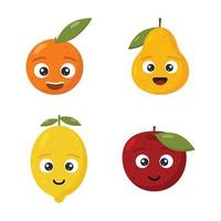 Set cartoon fruits. Happy cute lemon, apple, orange and pear for kids isolated on white background. vector