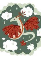 ilustración vectorial. lindo personaje de hadas dragón de otoño. dibujado a mano. en el fondo de la nube del cielo. vector