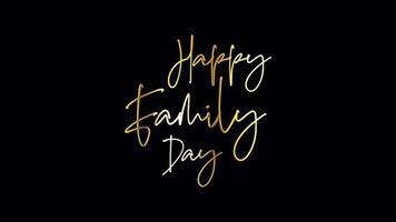 feliz dia da família caligrafia dourada isolada video