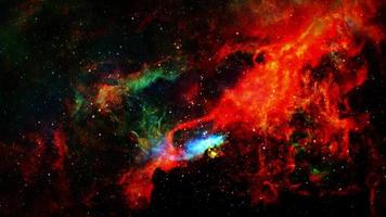 viagem espacial galáxia inexplorada com ciclo de nuvens faiscantes video