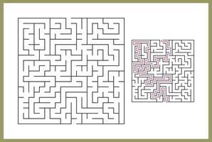 laberinto para niños. laberinto cuadrado abstracto. encuentra el camino hacia el regalo. juego para niños. rompecabezas para niños. enigma del laberinto. Ilustración de vector plano aislado sobre fondo blanco. con vector libre de respuesta