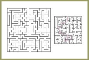 Maze for kids. Abstract square maze. Find the path to the gift. Game for kids. Puzzle for children. Labyrinth conundrum. Flat vector illustration isolated on white background. With answer Free Vector