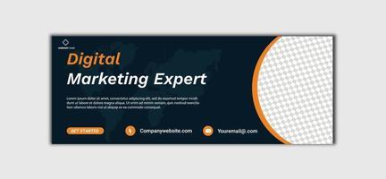 Diseño de banner de plantilla de marketing digital para redes sociales, línea de tiempo de promoción de marketing de negocios digitales, plantilla de portada de Facebook y redes sociales vector