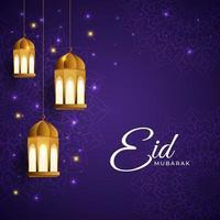 Eid Mubarak Lantern Background vector