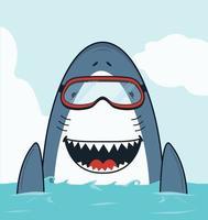 Cute open mouth Shark swimming flat vector