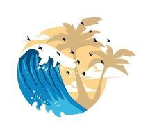 Summer Waves Background. Flat Design logo vector