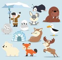 Cute Arctic flat design Cartoon characters  set vector
