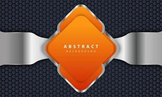 Orange background with 3D style. Rectangle background with a combination of hexagon and silver lines. vector
