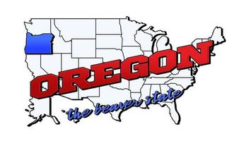 Vector illustration with US Oregon state on American map with lettering