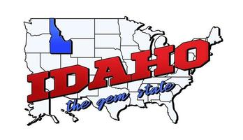 Vector illustration with US Idaho state on American map with lettering