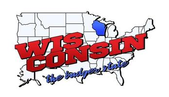 Vector illustration with US Wisconsin state on American map with lettering