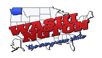 Vector illustration with US Washington state on American map with lettering