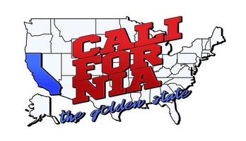 Vector illustration with US California state on American map with lettering