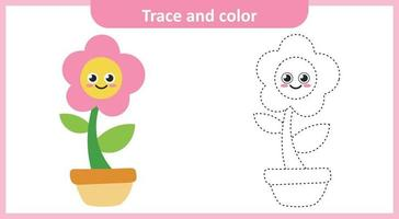 Trace and Color Cute Flower