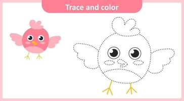 Trace and Color Cute Little Bird