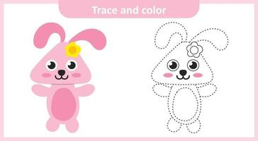 Trace and Color Cute Rabbit