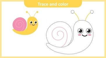 Trace and Color Cute Snail