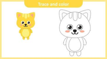 Trace and Color Cute Cat
