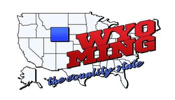 Vector illustration with US Wyoming state on American map with lettering