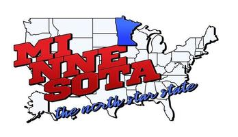 Vector illustration with US Minnesota state on American map with lettering