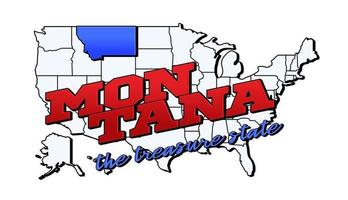Vector illustration with US Montana state on American map with lettering