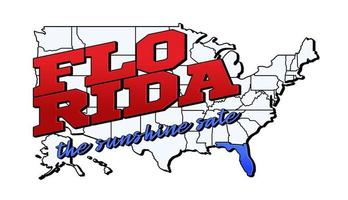 Vector illustration with US Florida state on American map with lettering