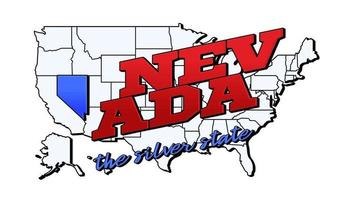 Vector illustration with US Nebraska state on American map with lettering