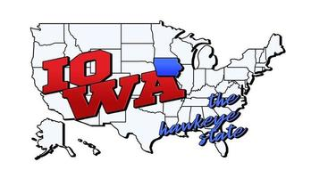 Vector illustration with US Iowa state on American map with lettering
