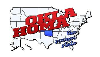 Vector illustration with US Oklahoma state on American map with lettering