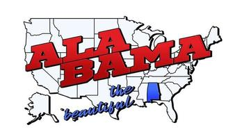 Vector illustration with US Alabama state on American map with lettering