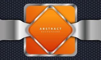 fondo naranja con estilo 3d. fondo rectangular con una combinación de líneas hexagonales y plateadas. vector