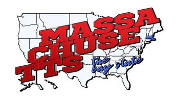 Vector illustration with US Massachusetts state on American map with lettering