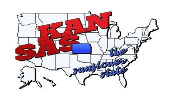 Vector illustration with US Kansas state on American map with lettering