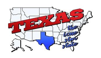 Ilustración vectorial con el estado de Texas en el mapa americano con letras vector